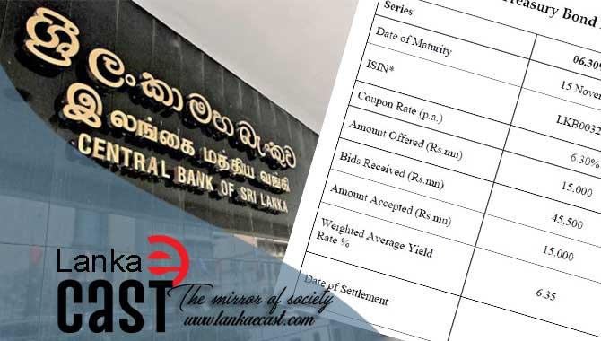 Sri Lanka sells Rs25bn in Treasury bonds lankaecast